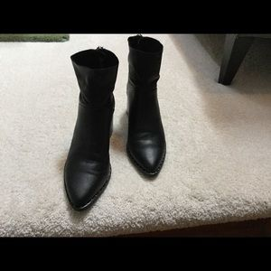 Black leather booties in excellent condition.